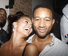 "Pin for Later: Chrissy Teigen and John Legend Bring New Meaning to the Term ""Relationship Goals""  John and Chrissy were all smiles during an August 2008 party in NYC."