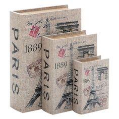DecMode Wood Canvas Decorative Book Box - Set of 3 - 40974
