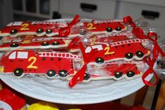 fire truck birthday party cookies