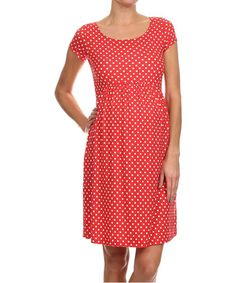 Take a look at this Chris & Carol Red & White Polka Dot Maternity Dress today!