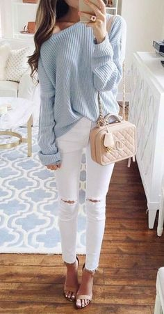 light blue chunky knit off-the-shoulder sweater with white ripped skinny jeans and nude heels. purse: Chanel. #lotd #fashioninspo #fallfashion