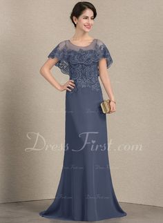9ffc6032966 A-Line Princess Scoop Neck Sweep Train Chiffon Lace Mother of the Bride  Dress