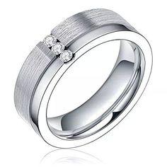 6mm Titanium Ring Couple Wedding Bands Cubic Zirconia Inlay Brushed