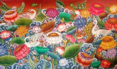 The Music of Murals Mural Art, Murals, Swan Painting, Bussines Ideas, Indian Illustration, Kerala Mural Painting, Reading Themes, Ceramic Birds, Traditional Paintings