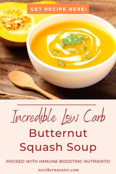 Enjoy this winter warmer for a delicious and filling lunch! This incredible low carb butternut squash soup is packed with immune boosting nutrients that leave you feeling your best all through the day! Great for a quick and hassle free lunch in minutes! #lowcarbsoup #lowcarbbutternutsquash #lowcarbsquashsoup Best Low Carb Recipes, Thm Recipes, Paleo Butternut Squash, Low Carb Breakfast, Soups, Lunch, Meals, Snacks, Winter