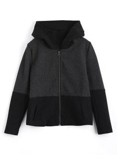 Zip Up Hooded Jacket With Fuzzy Ball - Black And Grey S