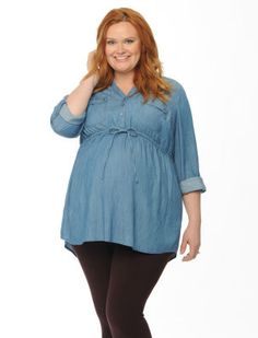 Plus Size Convertible Sleeve Tie Front Maternity Top