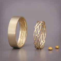 14K Gold Eternity Wedding Rings Set  Handmade by AverieJewelry