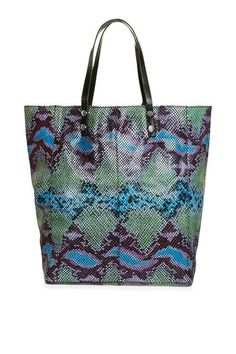 Double Handle Snake Embossed Shopper Bag