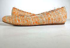 $540 GIAMBATTISTA VILLA Shoes 39 Tweed & Leather Ballet Flats *LOVELY* SZ 8.5 #GiambattistaValli #BalletFlats