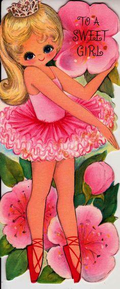 Vintage To A Sweet Girl Happy Birthday Ballerina Greetings Card