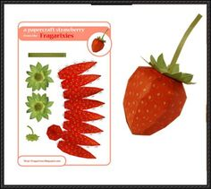Fruit Paper Model - Strawberry Free Papercraft Download