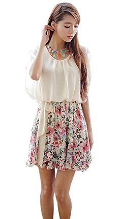 Chiffon Korean Floral Print Butterfly Sleeve Short Casual Cocktail Dress (L) Skins3rd http://www.amazon.com/dp/B00KZKQI24/ref=cm_sw_r_pi_dp_-ircvb0C0HA9A