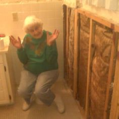 So silly. I remodeled Mom's bathroom and she joined in the fun. Mom, Bathroom, Painting, Washroom, Full Bath, Painting Art, Paintings, Bath, Painted Canvas