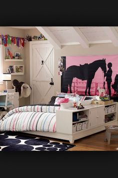 Horse themed bedroom, I want this room! But instead of an English girl Silhouette, i was a Western girl Silhouette. And instead of that door, id like my standard door, and instead of that English saddle... Id like a western saddle. I have GOT to start Saving