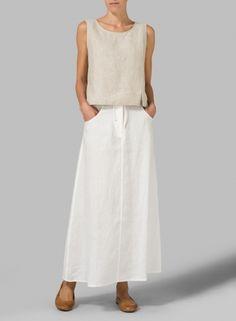 Linen High Rise Long Skirt
