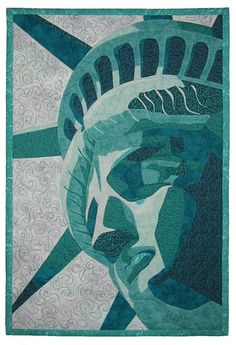 "The Face of Freedom, 24.5"" x 16.5"",  art quilt by Debra Hosler. © 2006. Fused raw-edge appliqué; machine quilted"