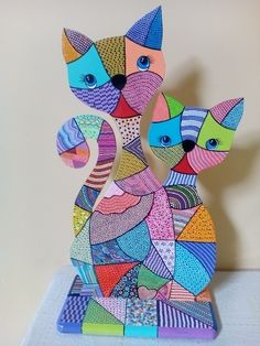 Risultati immagini per gatos en puntillismo Dot Painting Tools, Dot Art Painting, Stained Glass Patterns, Mosaic Patterns, Cat Crafts, Diy And Crafts, Wood Art, Metal Wall Art, Paper Mache Animals