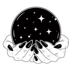 Crystal Ball Framed Art Print by Natasha Sines - Vector Black - Crystal Ball Tattoo, Tattoo Drawings, Art Drawings, Art Tattoos, Ball Drawing, Drawing Drawing, Bild Tattoos, Witch Art, Book Of Shadows