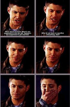"""What about us, huh? Mom's not supposed to live her life. Sammy's not suppose to get married. Why do we have to sacrifice everything, Dad?"" 