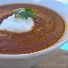 Sweet and Chunky Tomato Soup. 5 Stars all allrecipe.com. Ingredients: red & yellow bell pepper, butter, tomatoes, onion, garlic, broth, salt, sugar, cloves, oregano, basil, milk, cornstarch