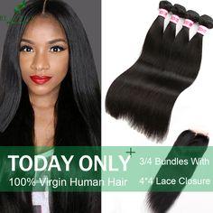 Brazilian Virgin Hair With Closure 3/4 Bundles With Closure Brazilian Straight Hair With Closure 7A  Human Hair With Closure * Ini pin AliExpress affiliate.  Cari tahu lebih lanjut dengan mengklik tombol KUNJUNGI