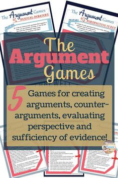 argument games for creating arguments, counter-arguments, evaluating evidence and reasoning. argument games for creating arguments, counter-arguments, evaluating evidence and reasoning. Argumentative Writing, Persuasive Writing, Teaching Writing, Essay Writing, Teaching English, Teaching Tools, Teaching Ideas, Writing Journals, Opinion Writing