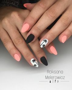 alternating colors of pink, black, and white - Nails Art Ideas - Latest Nail Art Trends Summer Acrylic Nails, Best Acrylic Nails, Acrylic Nail Designs, Summer Nails, Hair And Nails, My Nails, Dream Nails, Nagel Gel, Stylish Nails
