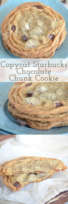 You have got to try this copycat Starbucks chocolate chunk cookie recipe! It tastes exactly the same - with a crisp outside and chewy middle! Go bake these now! Mini Desserts, Easy Desserts, Delicious Desserts, Yummy Food, Starbucks Chocolate Chunk Cookie Recipe, Chocolate Chunk Cookies, Starbucks Cookies, Starbucks Food, Gastronomia
