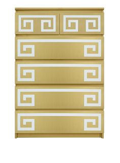 Show details for Greek Key Double O'verlays Kit for IKEA MALM (6 drawer chest)