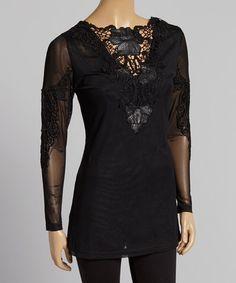 Look what I found on #zulily! Black Crochet Silk-Blend Long-Sleeve Tunic by Pretty Angel #zulilyfinds