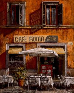 Painting of Cafe Roma, Italy