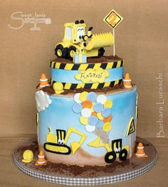 Sweet Janis Boys Bday Cakes, 2 Birthday Cake, Construction Cakes, Digger Cake, Cupcake Cakes, Cupcakes, Edible Art, Themed Cakes, Fondant