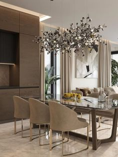 An amazing and mesmerizing design by Domoff Interirors! #designinspiration #designideas #interiordesign #interiorinspirations #designgoals #diningroom #chandelier #diningchair #rug Dining Chairs, Dining Room, Dining Table, Modern Classic Bedroom, Chandelier, Rug, Design Inspiration, Interiors, Contemporary