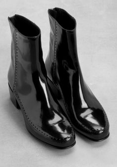 Black Leather Ankle Boots from Stories/HM.