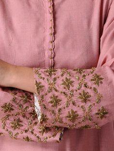 Pink Silk Kurta with Embroidery