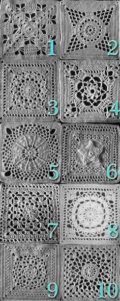 10 afghan squares, with links to each of these free patterns on Ravelry - this is a great blog :-)  1) Butterfly Garden; 2) Supernova;  3) Flower Burst;  4) Victorian Dream;  5) New Year's Eve;  6) Star Overlay;  7) Wheel Lattice;  8) Birthday Flower;  9) Mandala;  10) Lovely in Green     . . . .