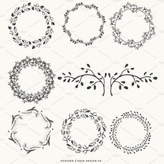 (Vector) Laurels, Wreaths, Banners by Feather & Sage Design on @creativemarket