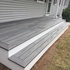 "Deck Picture in Deck ""Trex Island Mist"" - Picture 7703 - Modern Design Front Porch Steps, Deck Steps, Outdoor Steps, Patio Deck Designs, Patio Design, Outdoor Deck Decorating, Patio Stairs, Landscaping Around Deck, Deck Colors"