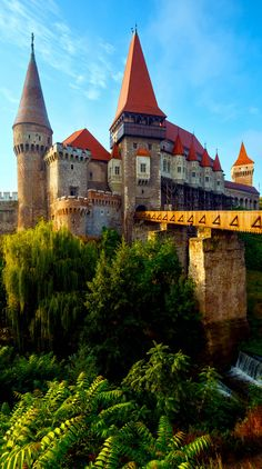 Summer Morning View of Corvin Castle, Hunedoara, Transylvania, Romania