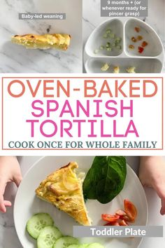 A healthy and filling meal you can prepare in no time to feed the whole family. Made simply with eggs, potato, olive oil and onions - easy, delicious oven-baked Spanish tortilla. We included options on how to serve for baby-led weaning, picky eaters, toddlers and moms and dads. Oven Recipes, Salmon Recipes, Fish Recipes, Baked Chicken Fajitas, Oven Baked Chicken, Toddler Dinner Recipes, Spanish Tortilla Recipe, Vegan Butternut Squash Soup, Healthy Family Dinners