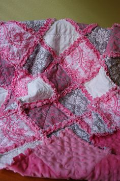 Pink and grey rag quilt for baby!