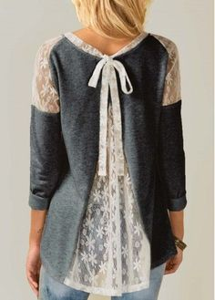 Tie Back Long Sleeve Lace Panel Grey Blouse | Rosewe.com - USD $29.58