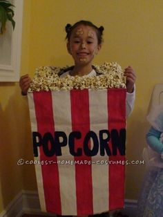 This popcorn costume won her first prize at the school costume contest! It was easy...ish!! Except for the burns I got from melting sugar I tried to p...