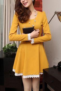 Yellow A-line dress w/corset style back