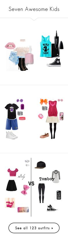 """""""Seven Awesome Kids"""" by sierra-ivy on Polyvore featuring adidas, Converse, Essie, Maybelline, Bffs, polyvorefashion, Hue, Mulberry, Miu Miu and Forever 21"""