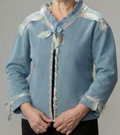 $45 for beautiful detailed Blue Sweatshirt Jacket trimmed with hand-dyed silk ribbon.  Order this one of a kinda jacket at LondasCreativeSewing on Etsy