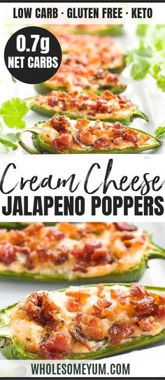 Keto Bacon Cream Cheese Jalapeño Poppers Recipe - See how to make baked jalapeño poppers with a time-saving shortcut! This easy, keto bacon cream cheese jalapeño poppers recipe needs just 7 ingredients + 10 minutes prep. Low Carb Keto, Low Carb Recipes, Diet Recipes, Cooking Recipes, Healthy Recipes, Keto Fat, Bacon Recipes, Cream Cheese Jalapeno Poppers, Jalapeno Popper Recipes
