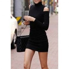$6.02 Solid Color Cut Out Long Sleeves Cotton Blend Simple Style Dress For Women