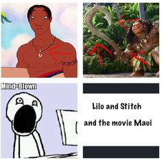 David's necklace off of LILO and Stitch and Maui's staff off of the new Disney movie Moana are the same!!!